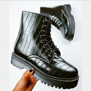 🆕️The Seattle// black croc print combat boot